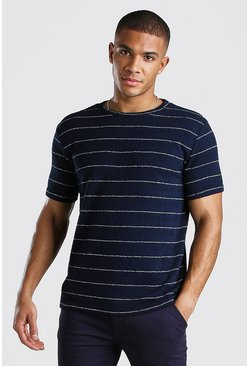 Navy Randig stickad t-shirt