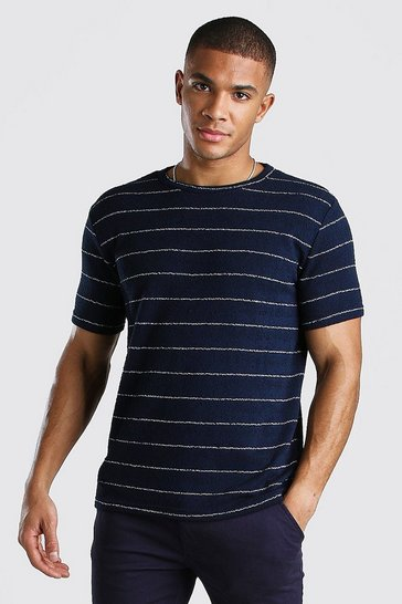 Navy Knitted Stripe Tee