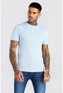 Pale blue Knitted Muscle Fit Stripe T-Shirt