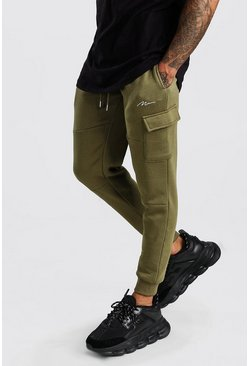 Olive MAN Signature Panelled Cargo Jogger