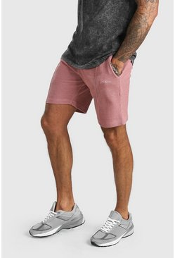 Dusky pink MAN Signature Pique Slim Fit Pintuck Shorts