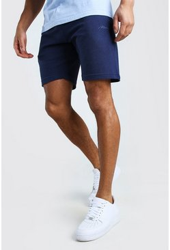 Navy MAN Signature Pique Mid Length Short