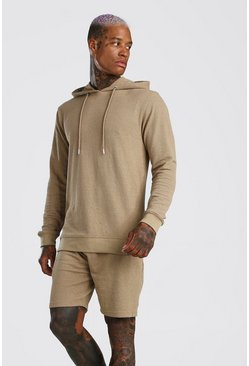 Tobacco Pique Hooded Short Tracksuit