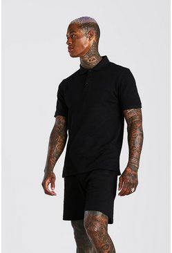 Black MAN Signature Pique Polo & Short Set