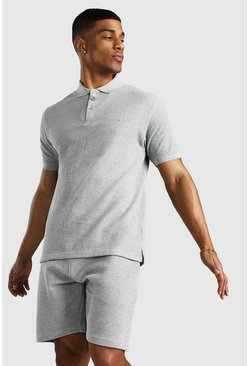 Grey MAN Signature Pique Polo & Short Set