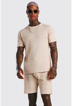 Sand MAN Signature Pique T-Shirt & Pintuck Short Set