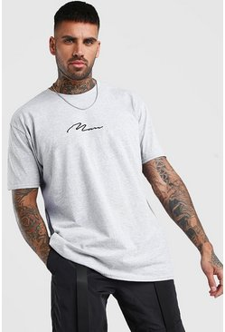 "Oversized T-Shirt mit ""MAN Signature""-Print, Grau"