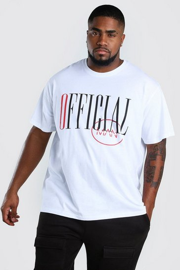 White Big And Tall Loose Fit Official MAN T-Shirt