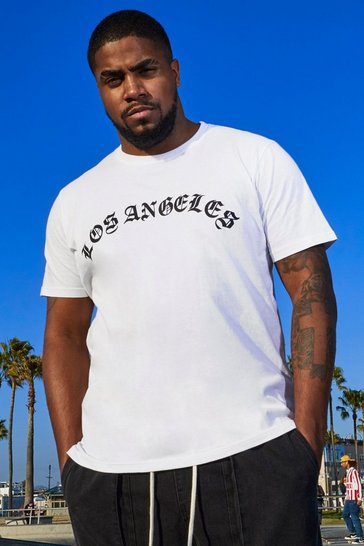 White Big And Tall Loose Fit L.A. Print T-Shirt