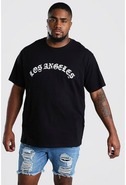 Black Big And Tall Loose Fit L.A. Print T- Shirt