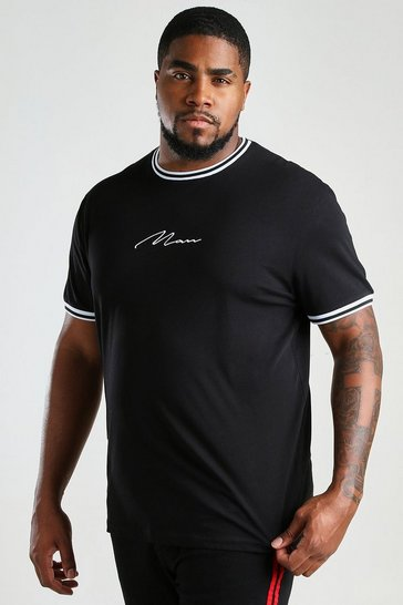 Black Big And Tall MAN Signature Sports Cuff T-Shirt