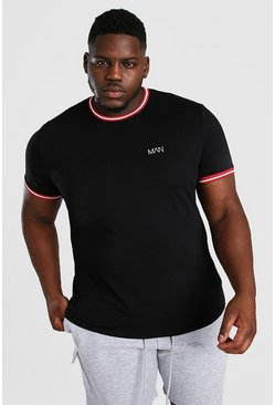 Black Big And Tall MAN Sports Rib Neck & Cuff T-Shirt
