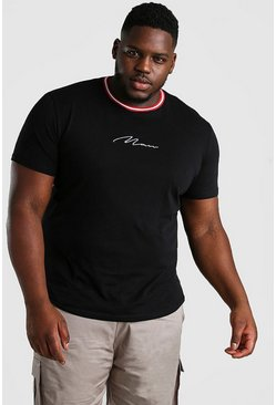 Big & Tall MAN T-Shirt mit Sport-Rippung am Kragen, Schwarz