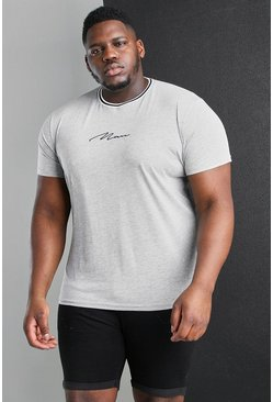 Grey Big And Tall MAN T-Shirt With Sports Rib Neck