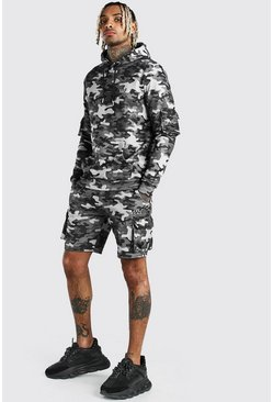Dark grey Original MAN Camo Cargo Short Tracksuit