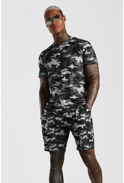 Dark grey Camo T-Shirt & Short Set