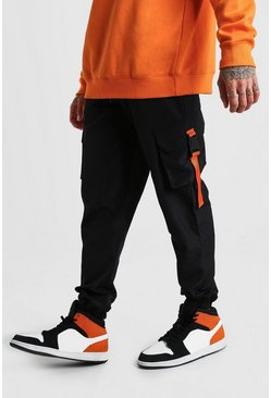 Black Original MAN Shell Cargo Contrast Buckle Jogger