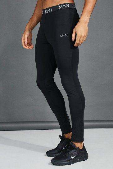 Black His Active Compression Tight With Reflective
