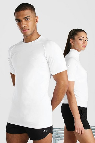 White His Active Raglan T Shirt