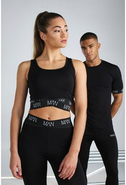 Black Hers Active Sports Bra With Man Strap Detail