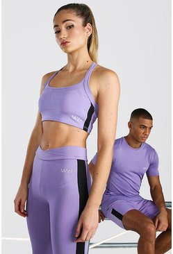 Purple Hers Active Sports Bra With Cross Back Straps