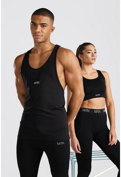 Black His Active Racer Back Vest With Scoop Neck