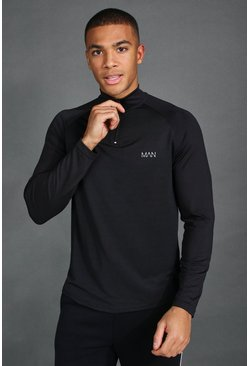 Black His Active Raglan Funnel Neck Top