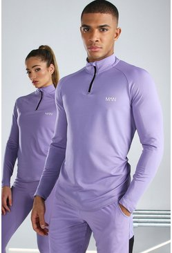 Purple His Active Raglan Funnel Neck Top