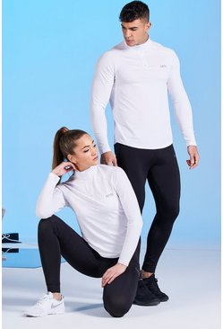 White His Active Raglan Funnel Neck Top