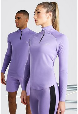 Purple Hers Active Raglan Funnel Neck Top