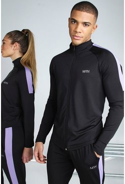 Black His Active Raglan Zip Through Funnel Neck Top