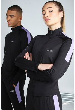 Black Hers Active Raglan Zip Through Funnel Neck Top
