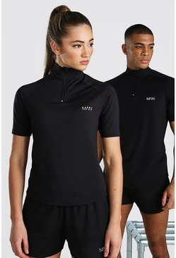 Black Hers Active Raglan Short Sleeve Funnel Top