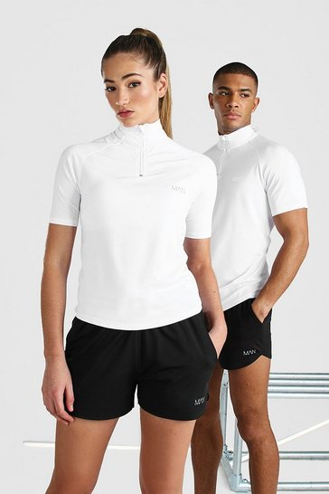 White Hers Active Raglan Short Sleeve Funnel Top