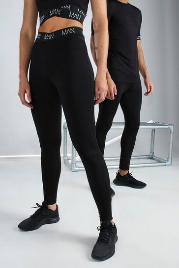Black Hers Active Tight With Cross Waistband Detail