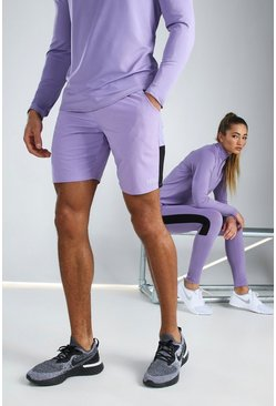 Purple His Active Mid Length Short With Panel Detail