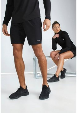 Black His Active Mid Length Short With MAN Waistband