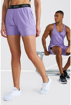 Purple Hers Active Mid Length Short With MAN Waistband