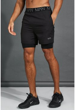 Black His Active Mid 2-In-1 Short With MAN Waistband