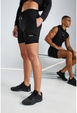 Black Hers Active Mid 2-In-1 Short With MAN Waistband