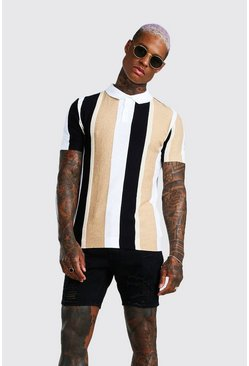 Black Muscle Fit Vertical Stripe Textured Knit Polo