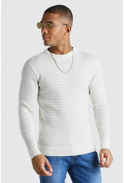 Ecru Long Sleeve Muscle Fit Cable Knit Smart Jumper