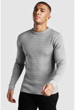 Light grey Long Sleeve Muscle Fit Cable Knit Smart Sweater