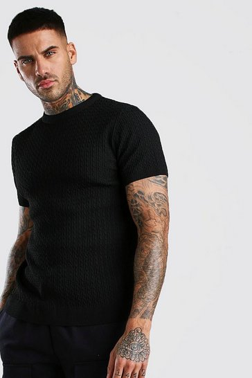 Black Short Sleeve Muscle Fit Cable Knit Smart T-Shirt