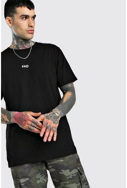 Black Oversized #AD Slogan Print T-Shirt