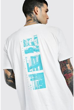 White Oversized Photo Back Print T-Shirt