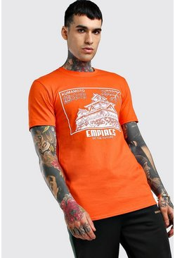 T-Shirt mit Empires Graphic-Print, Orange
