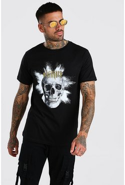 Black Visionary Skull Print T-Shirt