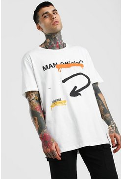 Ecru MAN Official Oversize t-shirt med graffititryck