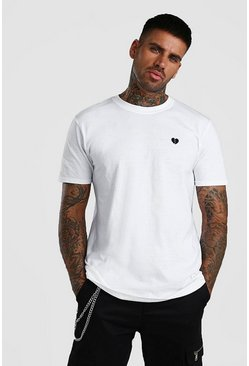 White Heartbreak Chest Embroidered T-Shirt